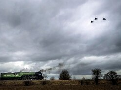 Tornado jets fly over namesake locomotive as part of final farewell