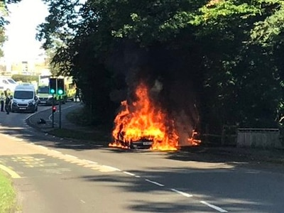 WATCH: Dramatic Stafford car fire caught on video