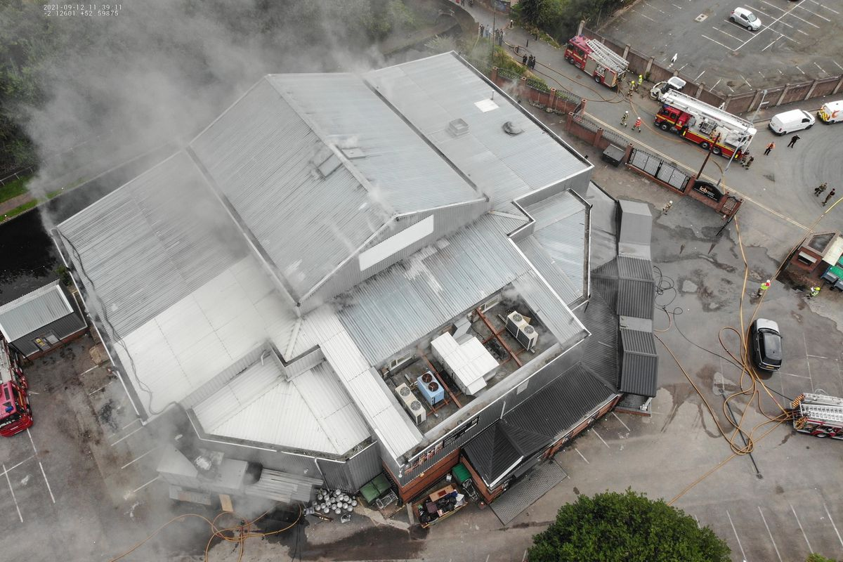West Midlands Fire Service are tackling a large fire inside Wolverhampton's International Conference and Banqueting Centre. Photo: West Midlands Fire Service