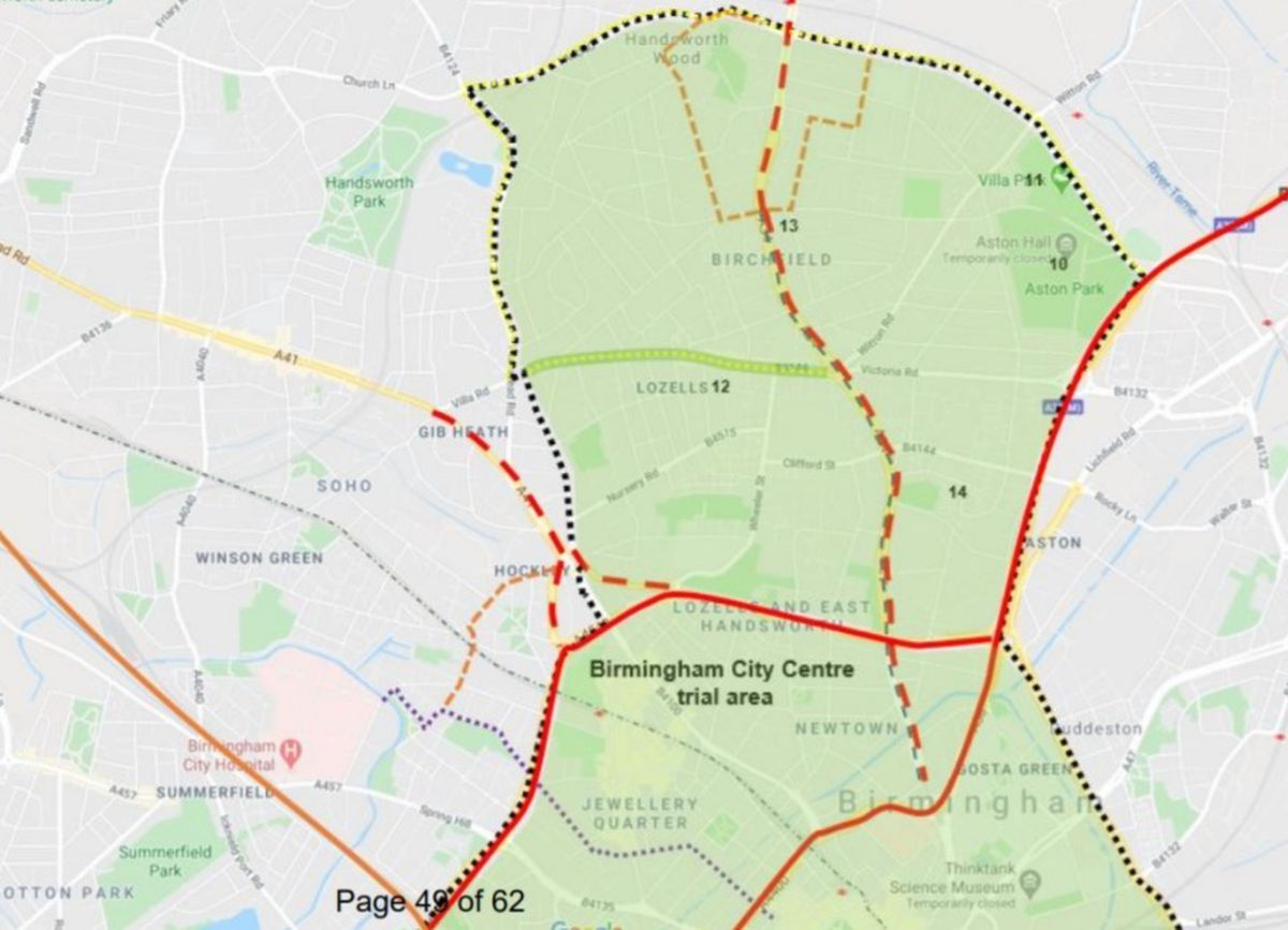A map showing where E-Scooter trials could take place in the north of the city - image courtesy of BCC