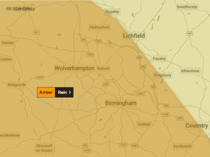 An amber weather warning is covering the Black Country, Birmingham and much of Staffordshire