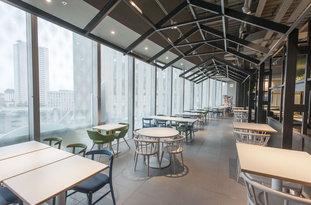 Inside the dazzling John Lewis store when it opened in 2015 which boasted its own restaurant