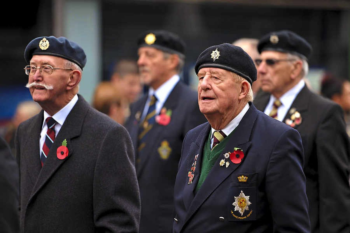 Veterans pictured at the start of the Remembrance Sunday parade from Top Church in Dudley High Street last year