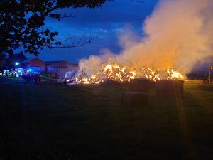 The hay fire, on farm land off Habberley Lane in Kidderminster.