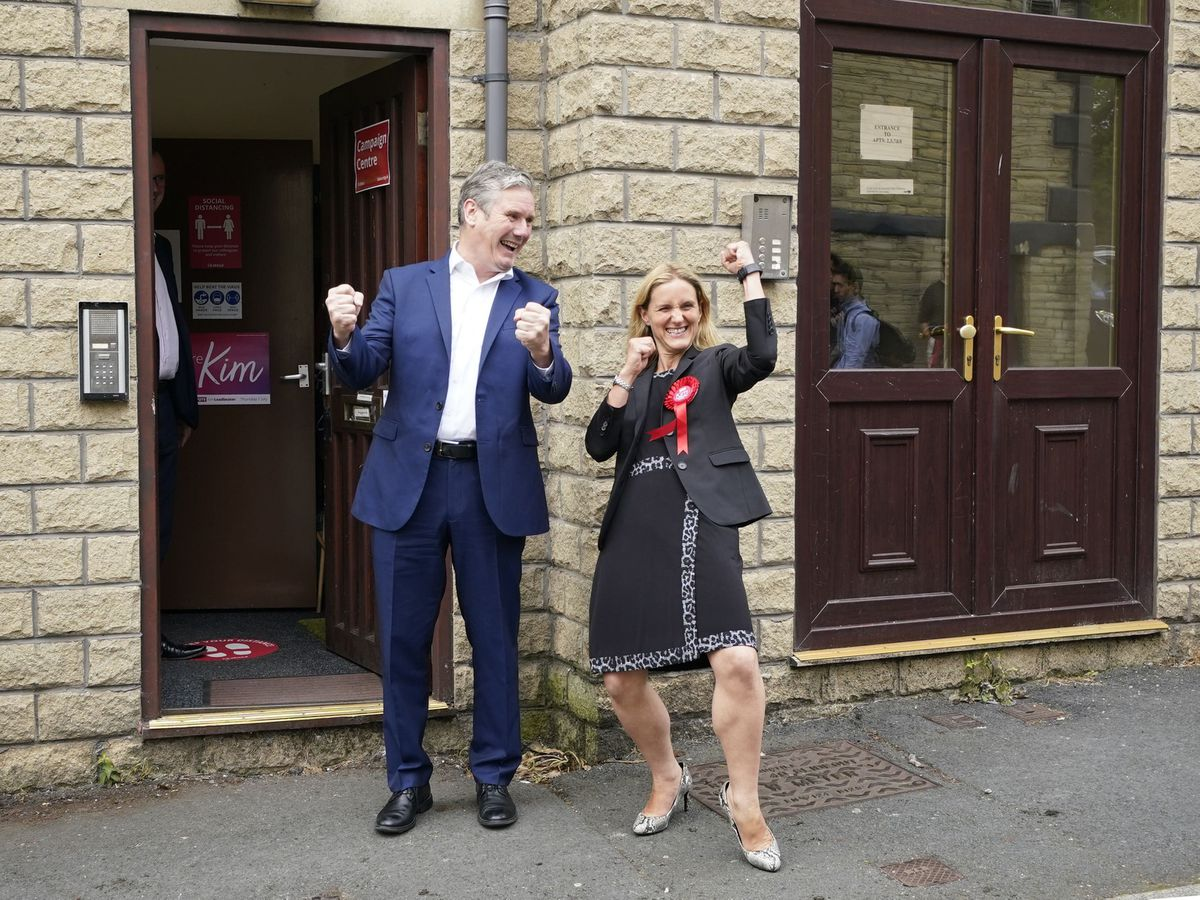 Sir Keir Starmer and Kim Leadbeater celebrate Labour's win in the Batley and Spen by-election