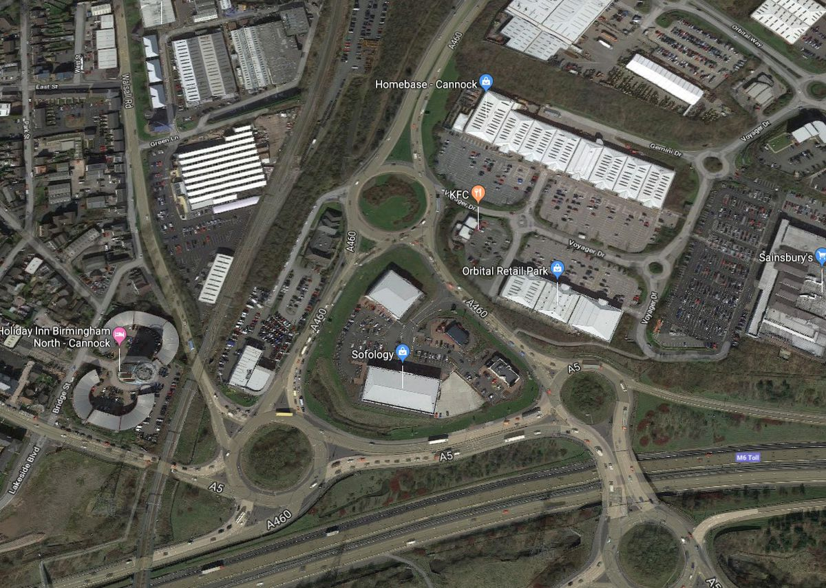 An aerial view of the roundabouts connecting the A5 and A460. Photo: Google