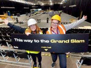 Crissie Rushton and Liz Grimshaw from Wolverhampton Council get ready for the Grand Slam of Darts