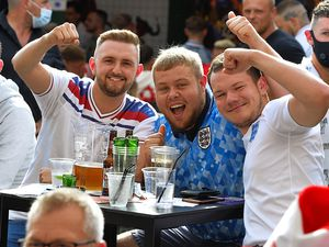 About 250 delighted fans celebrated at Bar Sport, in Cannock, as match heroes Harry Kane and Raheem Sterling scored