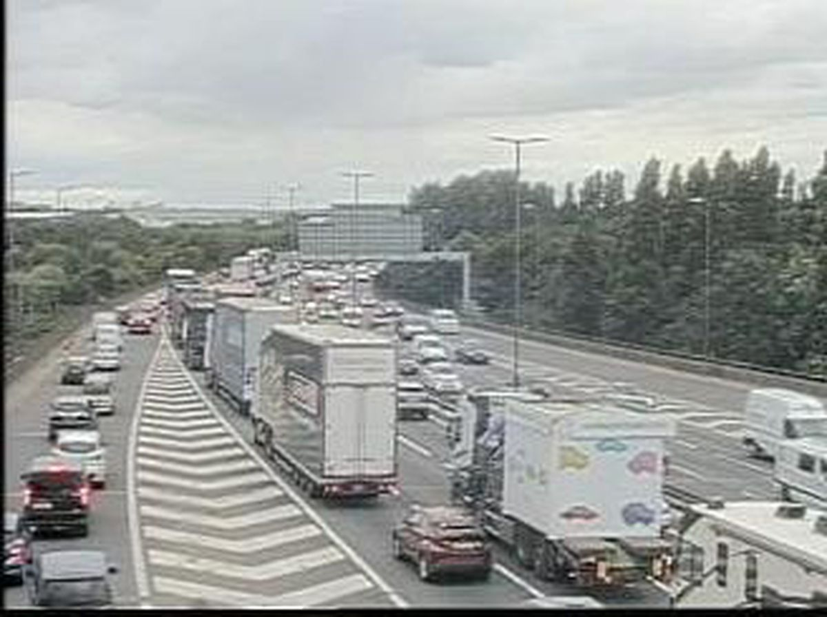 Traffic queues northbound behind the crash on the M6. Photo: Highways England