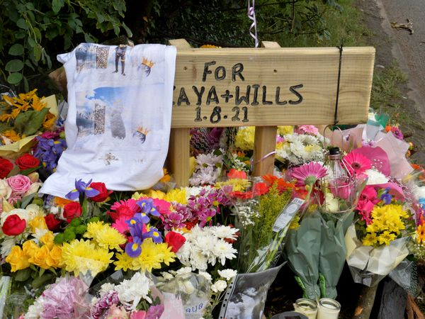 Tributes to Will Craddock and Kaya Morrison-Taylor at the scene of the crash