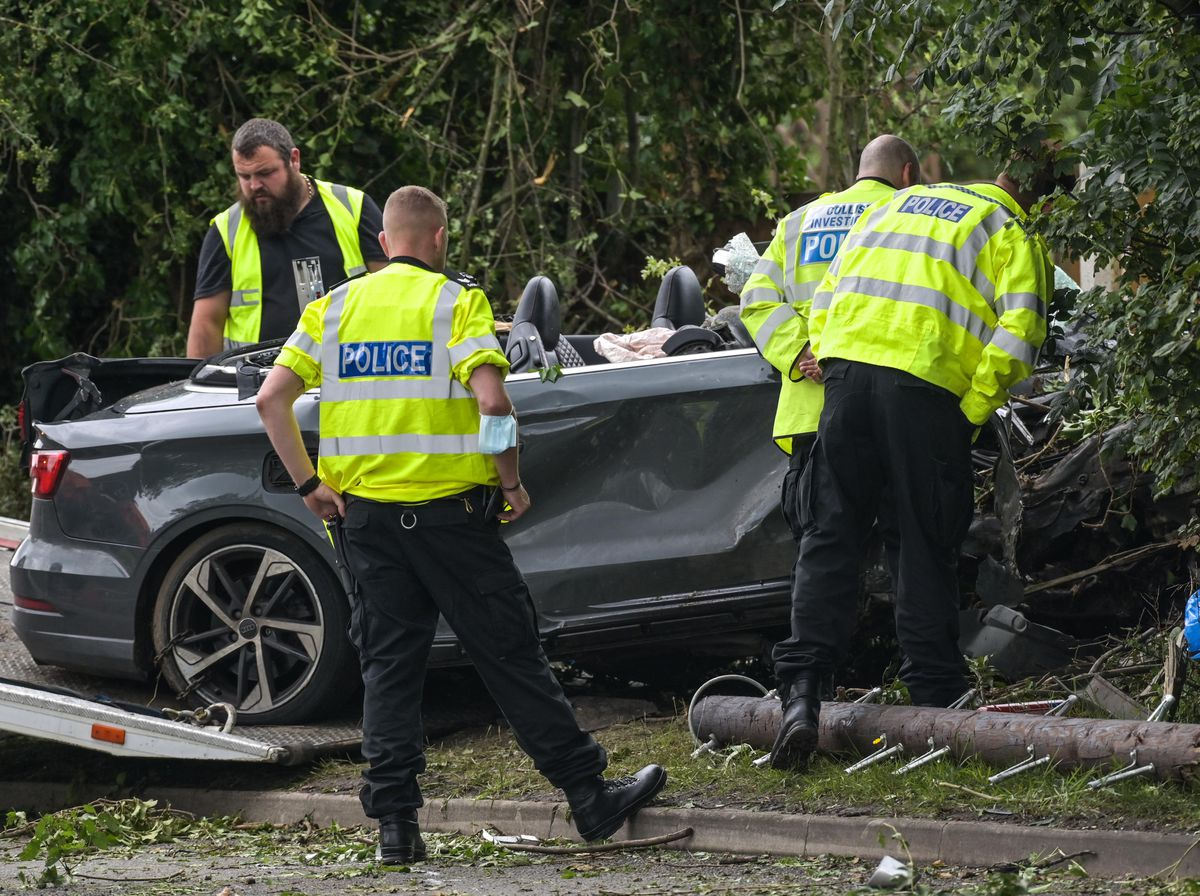 The convertible Audi is recovered from the scene of the crash. Photo: SnapperSK