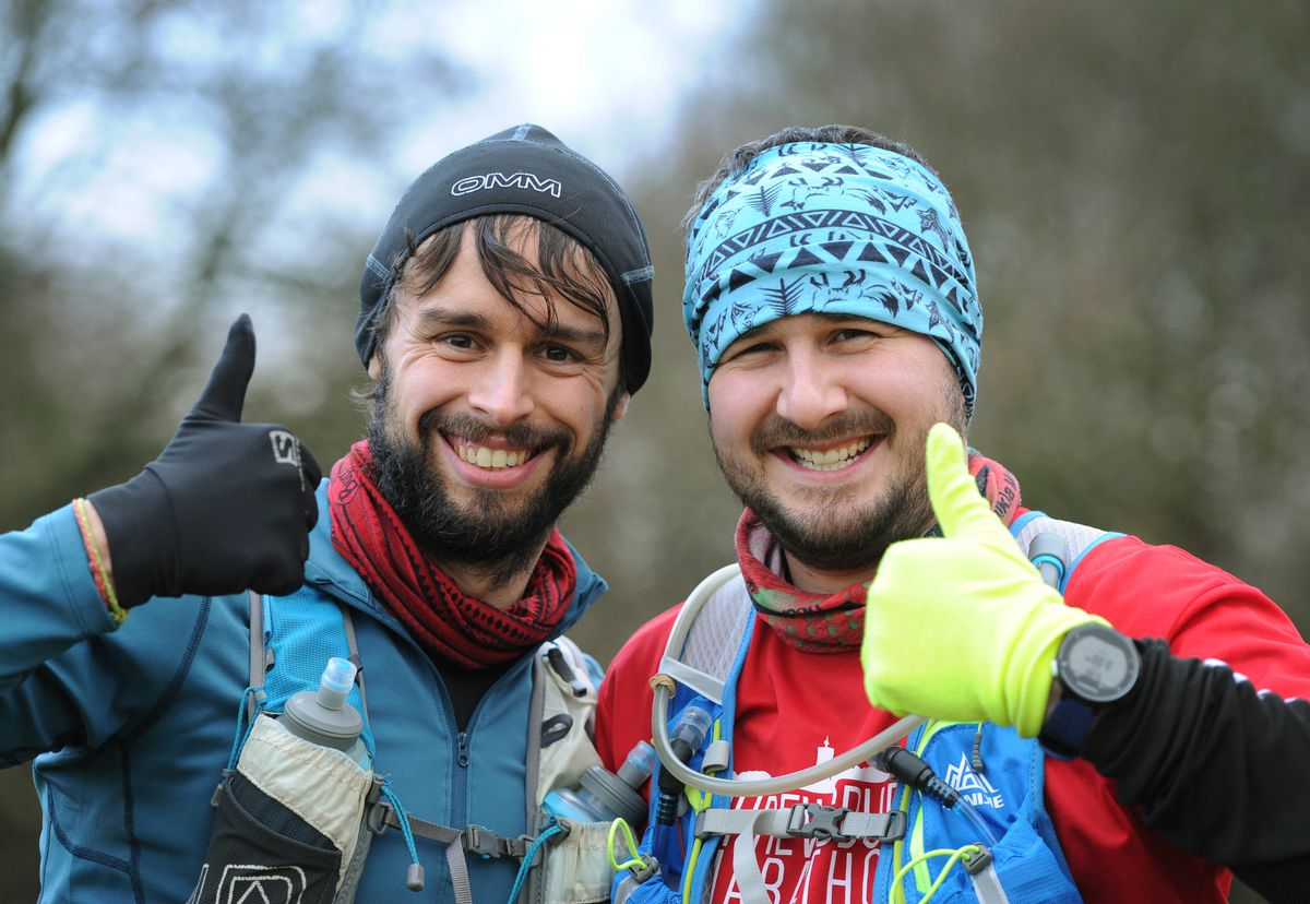 Taking part in the Cannock Chase Trig Point Race, at Milford Common, Stafford, (left-right) Martin Rouse, of Milton Keynes, and Richard Anthony, of Stafford