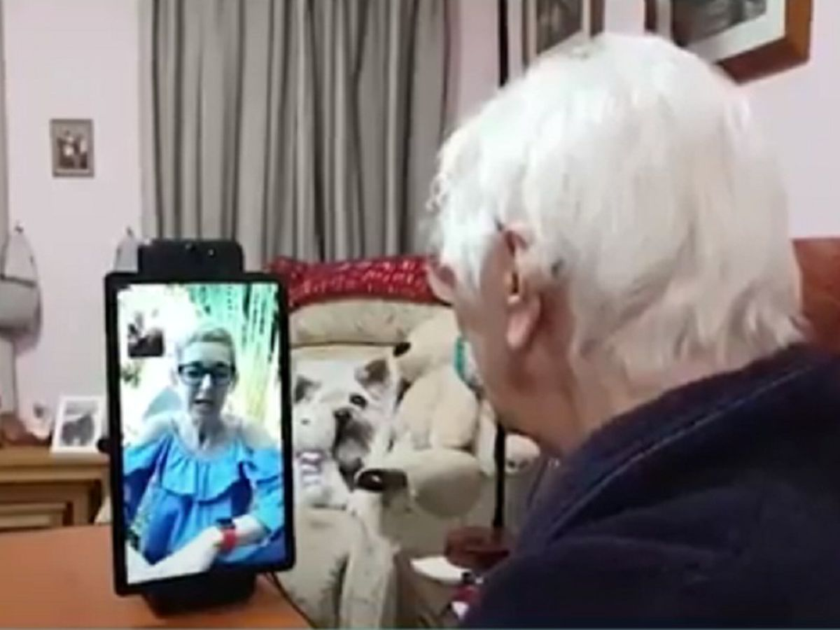 Woman chats on video call