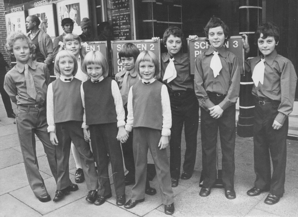 Guests of honour at the opening of Wolverhampton's three-screen Odeon in October 1973 - three sets of triplets: the Tunneys from Tettenhall, the Allibands from Netherton, and the Lowes from Shifnal