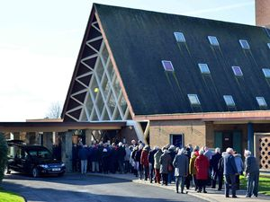 People lined up outside Gornal Wood Crematorium to say goodbye to Stan Hill