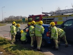 Woman cut free after two-car crash in Rugeley