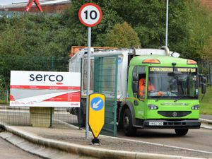 A bin collection lorry leaves Sandwell Council's Danks Way depot