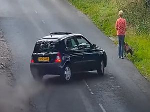 Screengrab taken from footage dated 22/07/20 issued by West Midlands Police showing the moments immediately before a dog-walker is mowed down by a blue Renault Clio in Doe Bank Lane, Great Barr, on the outskirts of Birmingham, on July 22, 2020. The victim survived, but her dog died at the roadside, after those responsible had fled the scene. PA Photo. Issue date: Wednesday August 5, 2020. See PA story POLICE GreatBarr. Photo credit should read: West Midlands Police/PA Wire..NOTE TO EDITORS: This handout photo may only be used in for editorial reporting purposes for the contemporaneous illustration of events, things or the people in the image or facts mentioned in the caption. Reuse of the picture may require further permission from the copyright holder..