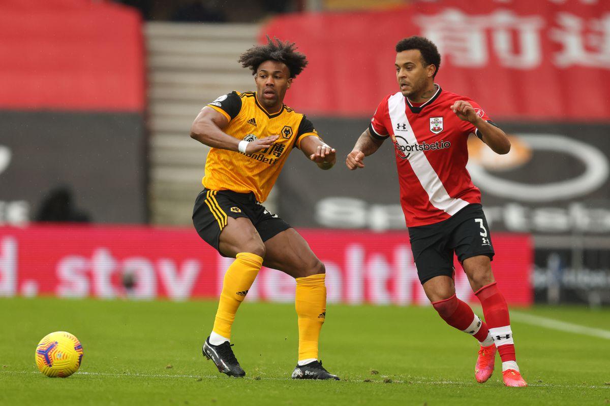 Adama Traore of Wolverhampton Wanderers and Ryan Bertrand of Southampton (AMA)