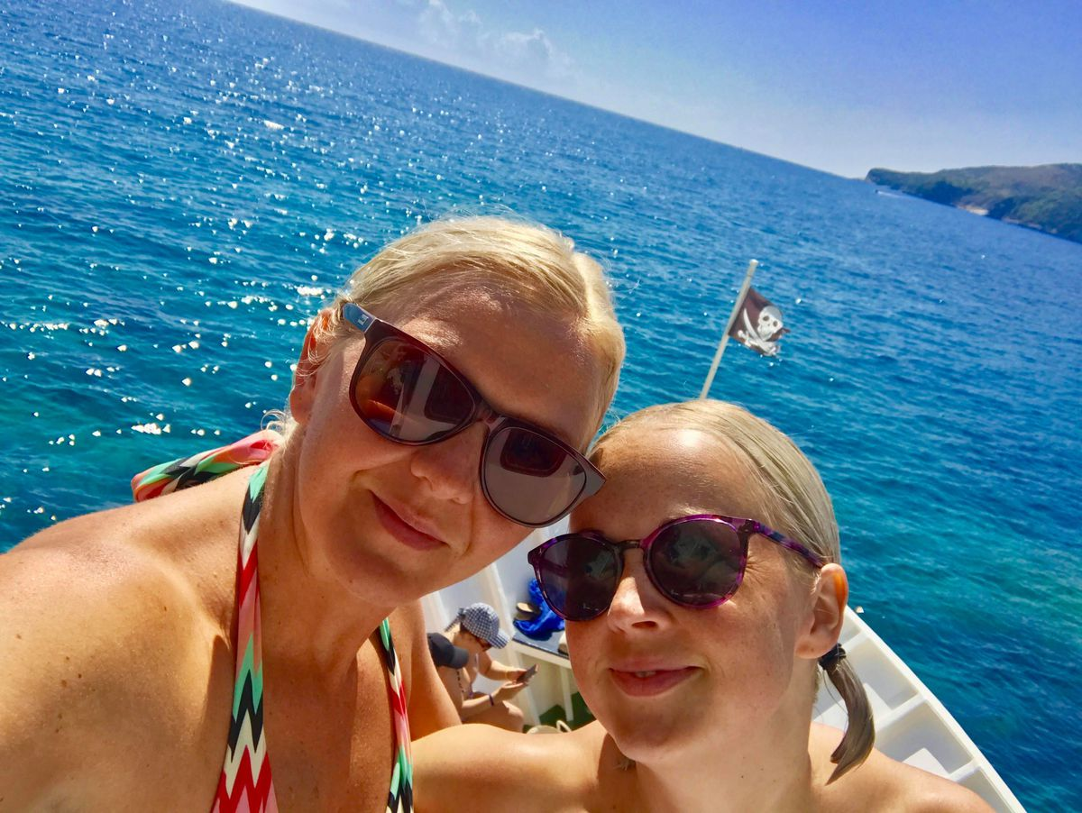 Jade Common, left, and Amy Darby are on their way back to Staffordshire from Zante
