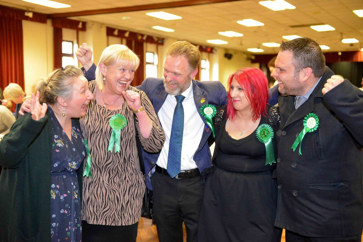 Green celebrations for Andrea Muckley, Mandy Durnett, Paul Woodhead, Claire Wilkinson and Stuart Crabtree