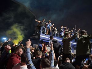 West Brom fans celebrate outside The Hawthorns. Photo: SnapperSK