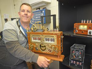 CANNOCK COPYRIGHT TIM STURGESS EXPRESS AND STAR......18/08/2021  Bad Dog designs from Penkridge exports their  nixie tube clocks to the USA after setting up with a stateside distributor , 'Touch of Modern' Paul's work is also of sale at Bespoke in Lichfield.  Pictured is , Paul  Parry with one of his hand built one off designs heading out to a dentist in the USA...