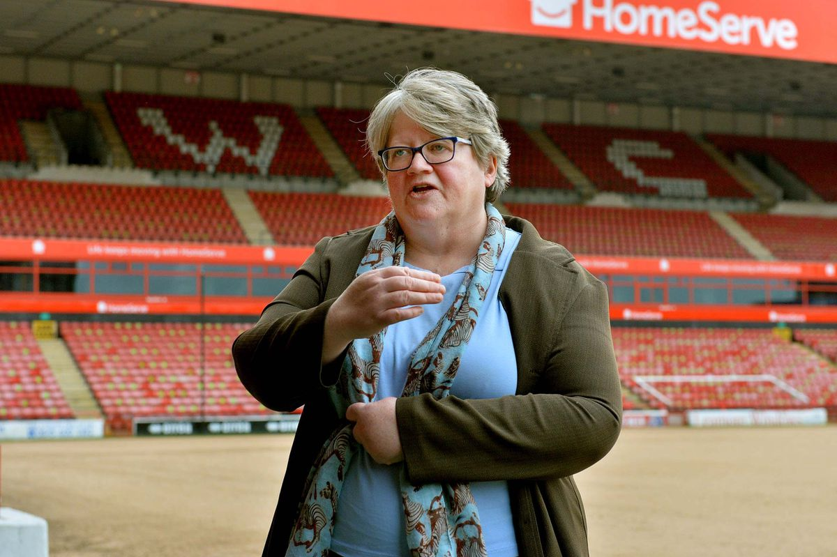 WALSALL COPYRIGHT EXPRESS AND STAR STEVE LEATH 20/05/2021..Walsall FC and MP Therese Coffey  (Secretary of State for Work and Pensions), was visiting to speak to people on the Kickstart scheme. Here having a look in players dressing room..