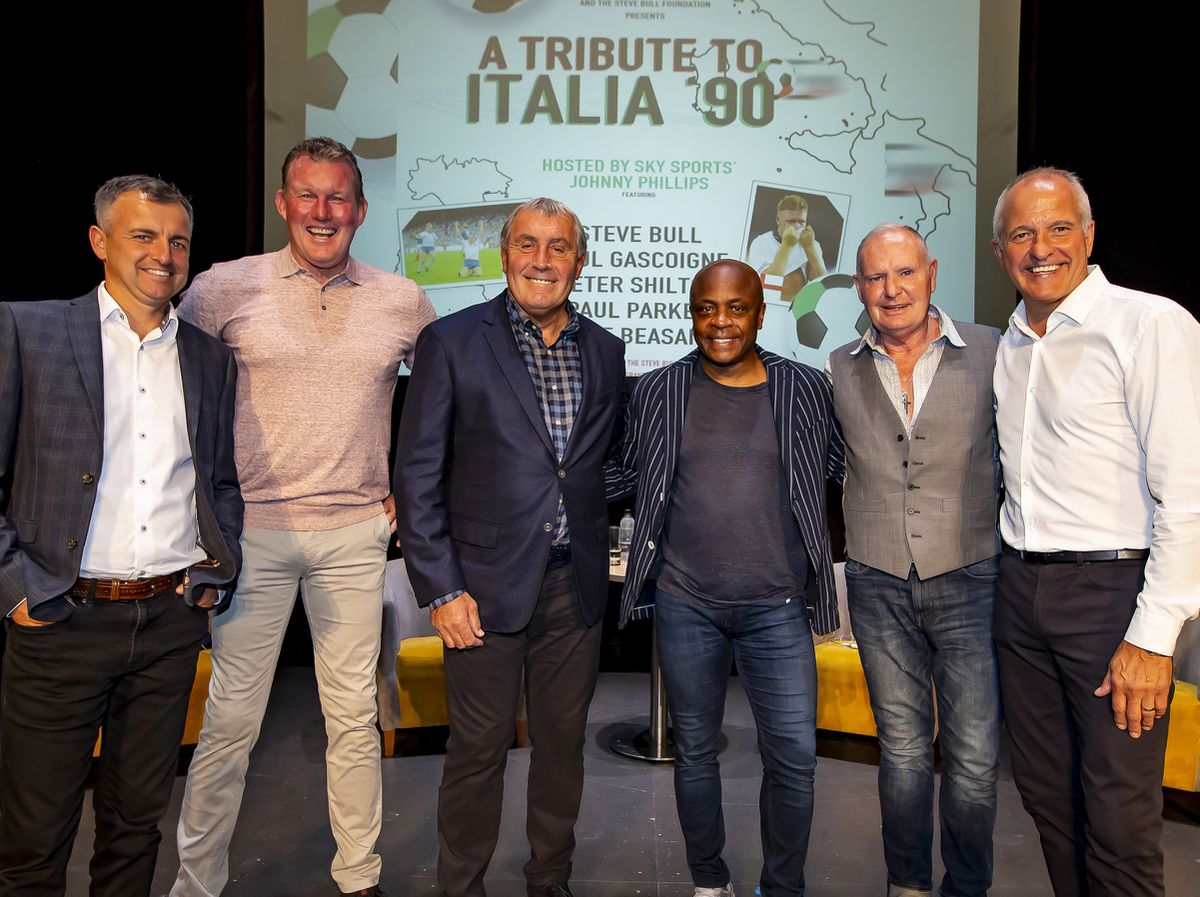 Host Johnny Phillips, Dave Beasant, Peter Shilton, Paul Parker, Paul Gascoigne and Steve Bull had a fun evening talking about Italia 90. Photo: Jonathan Hipkiss