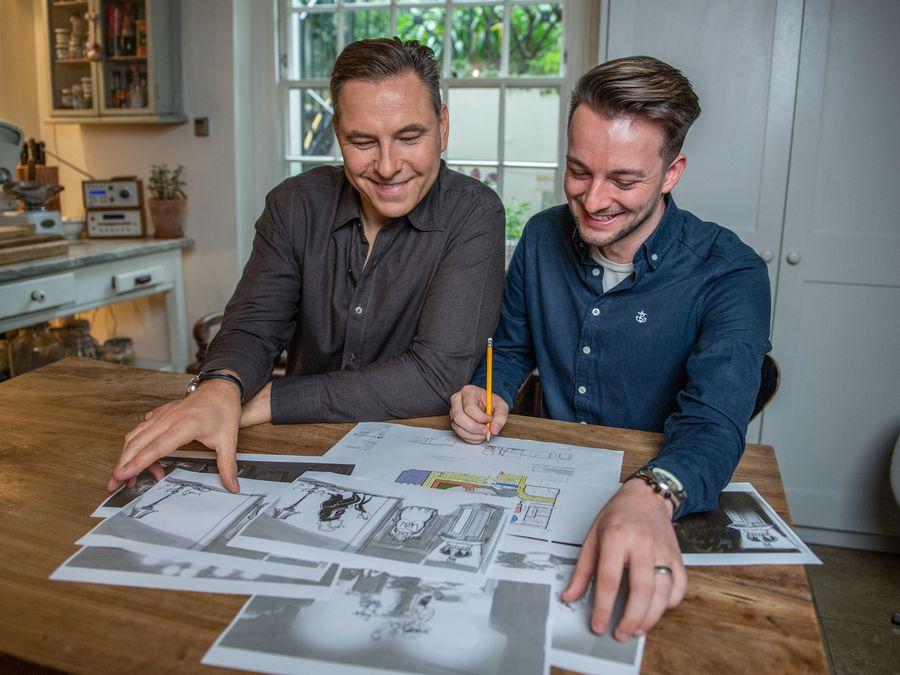 Comedian and author David Walliams and John Burton