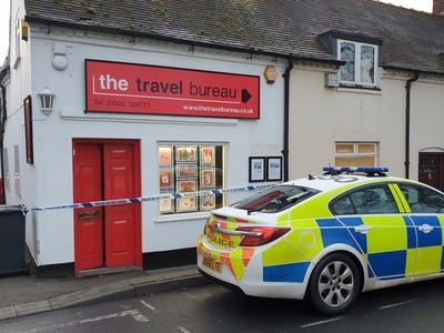 Safe containing cash stolen from travel agents in Wombourne