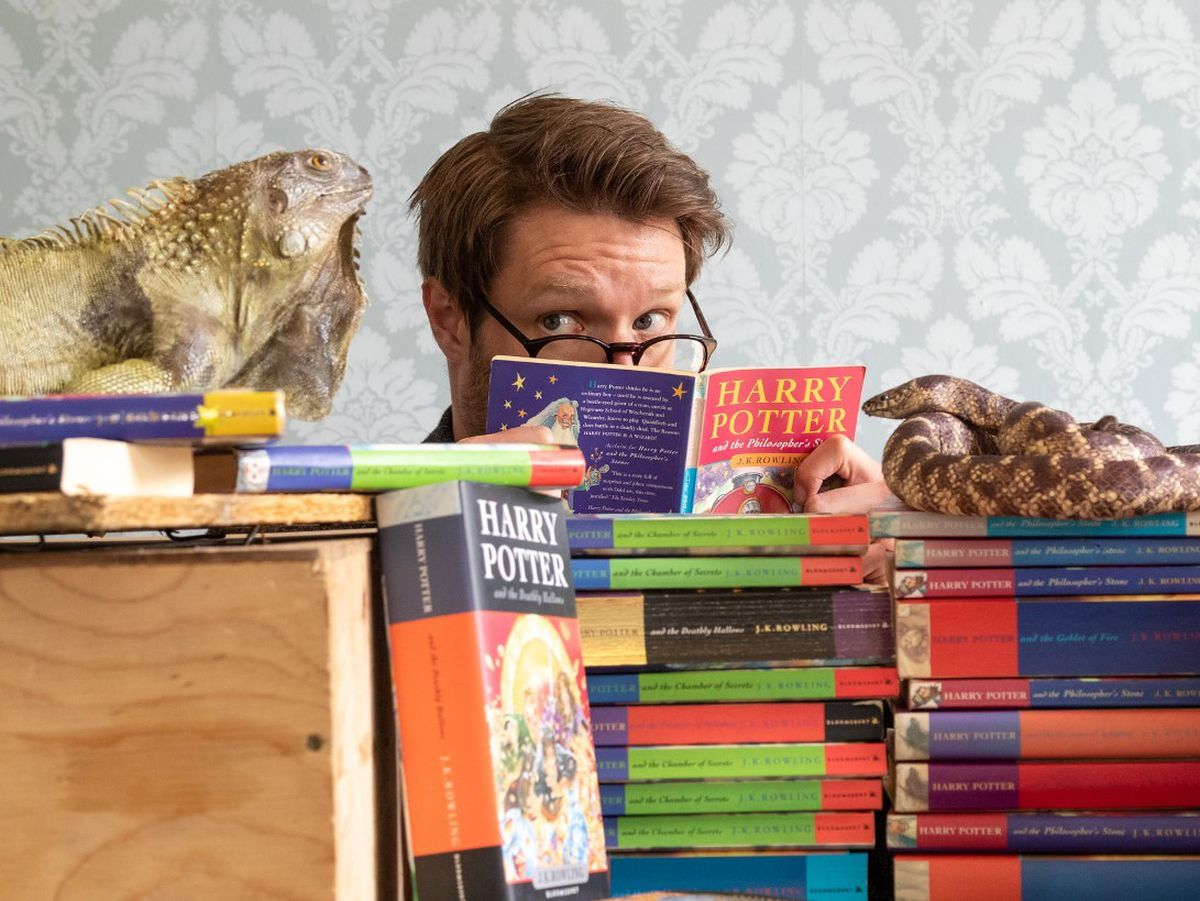 Jim Spencer with Potter books and creatures hired for the first film. Photo: Mark Laban Hansons