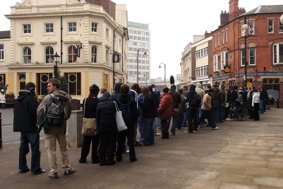 The queue for Arctic Monkeys tickets at the Little Civic, Wolverhampton
