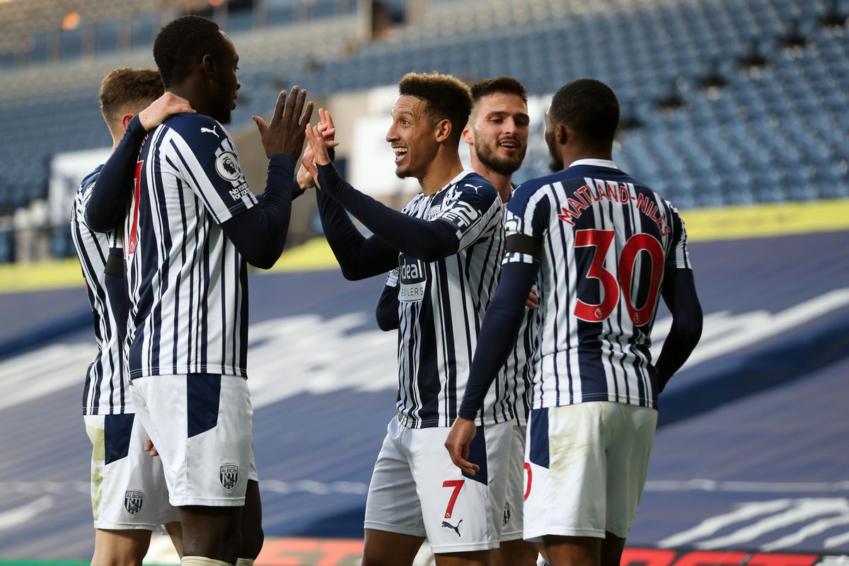 Callum Robinson of West Bromwich Albion celebrates after scoring a goal to make it 3-0. (AMA)
