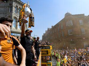 Nuno Espirito Santo manager / head coach of Wolverhampton Wanderers enjoys the Wolverhampton Wanderers Promotion celebration (AMA)