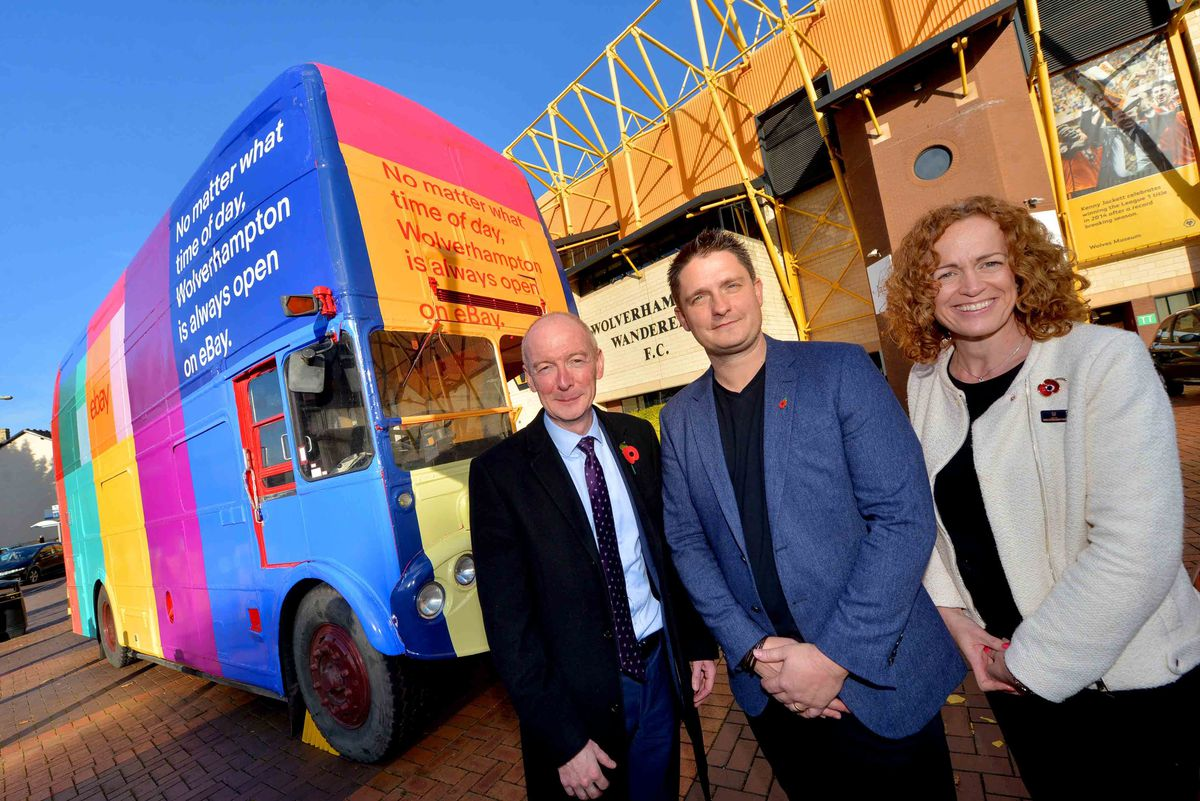 MP Pat McFadden, Rob Hattrell and Isobel Woods with the eBay bus at Molineux
