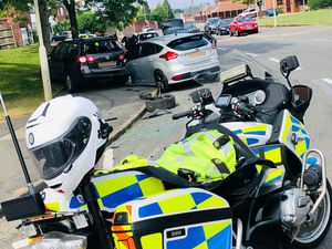 A man was arrested following a police chase which saw a cloned and stolen Ford Focus crash into parked cars (Image by West Midlands Police)