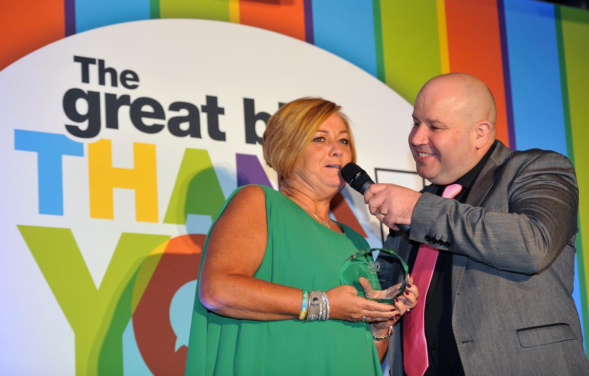 Fundraiser of the Year winner Suzy Evans with Dicky Dodd.
