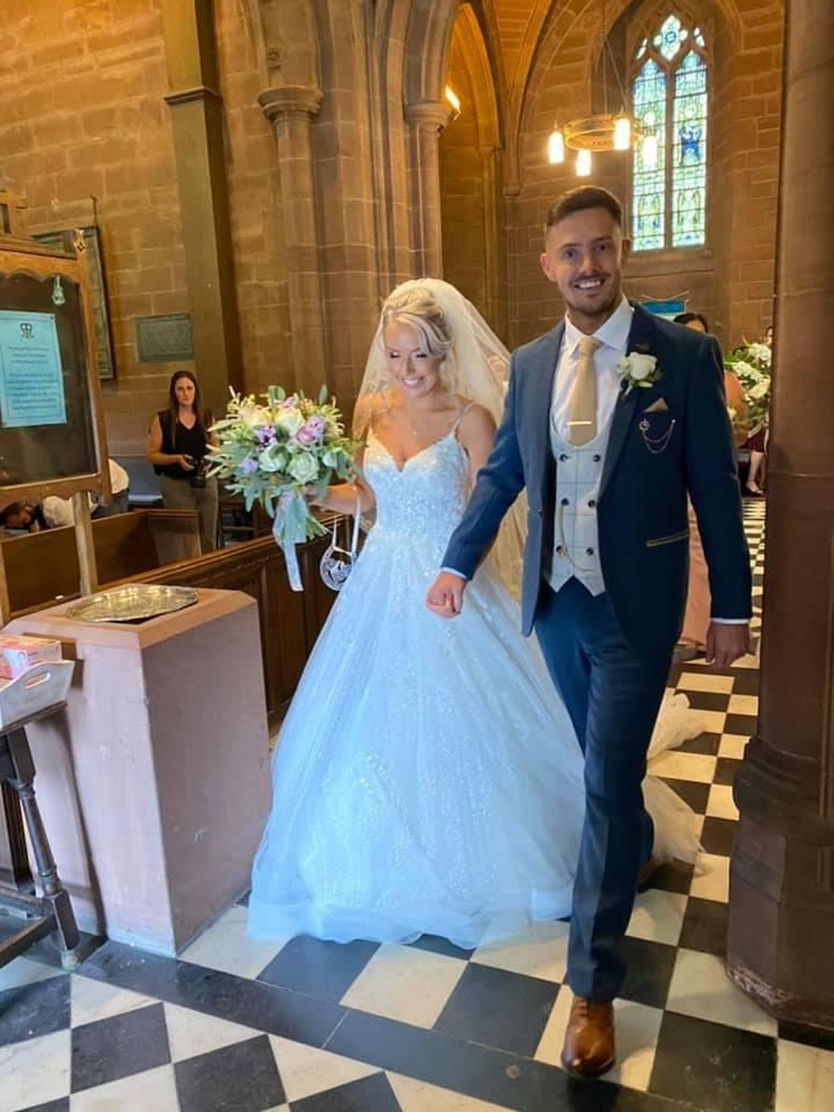 Lydia and Tidur Evans-Hughes on their wedding day