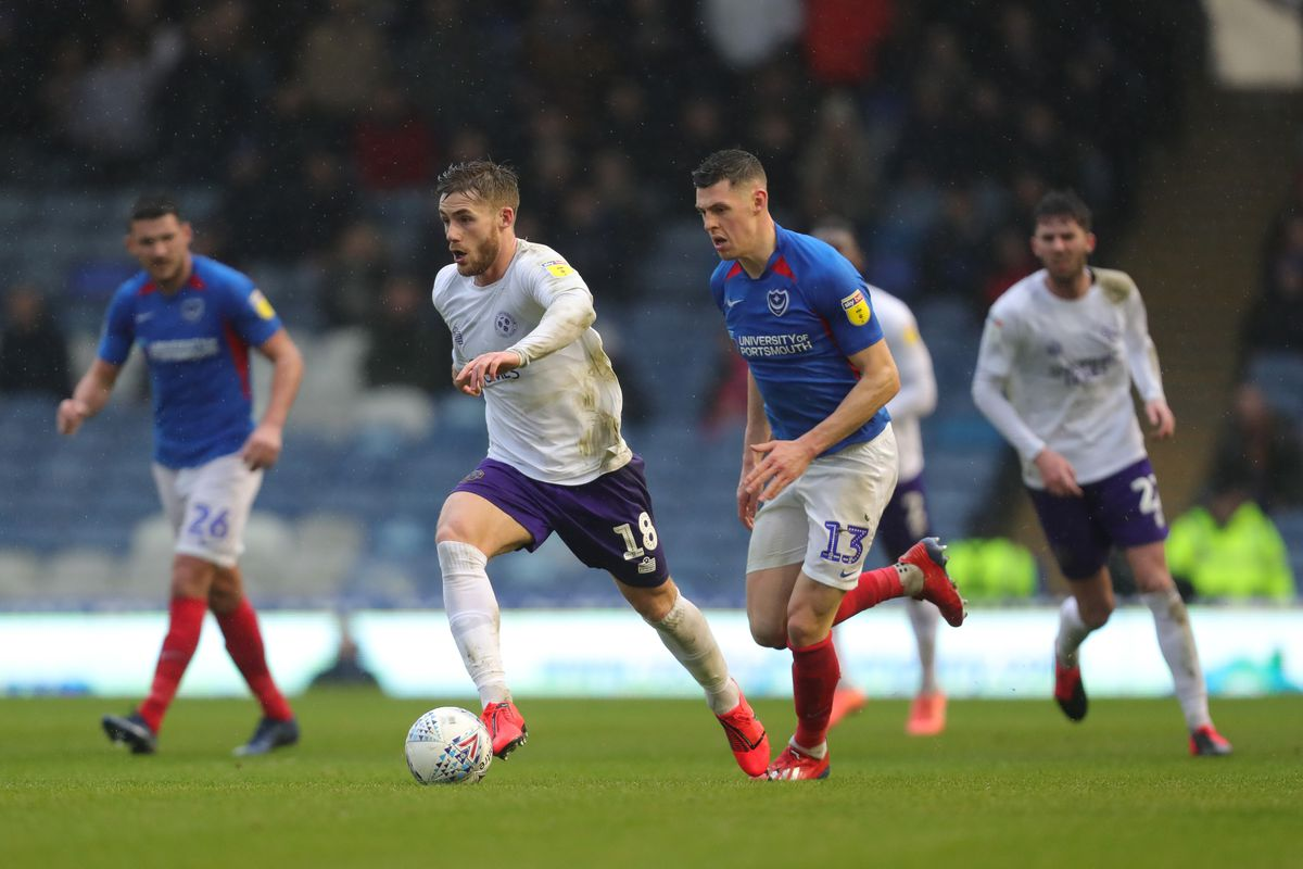 Conor McAleny of Shrewsbury Town and James Bolton of Portsmouth. (AMA)