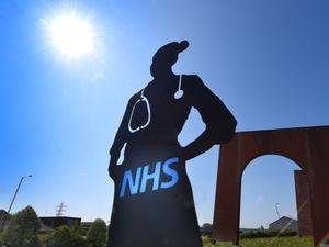 A steel nurse sculpture designed by brothers Liam and Steve Harris that they have installed on Cinder Bank island.