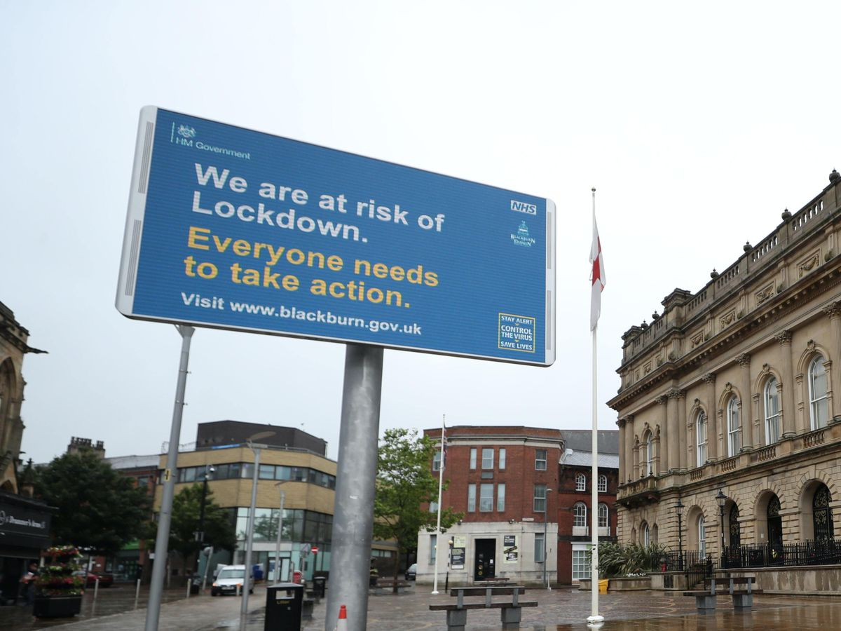 A billboard outside Blackburn Town Hall, as the town is facing a growing number of coronavirus cases (Peter Byrne/PA)