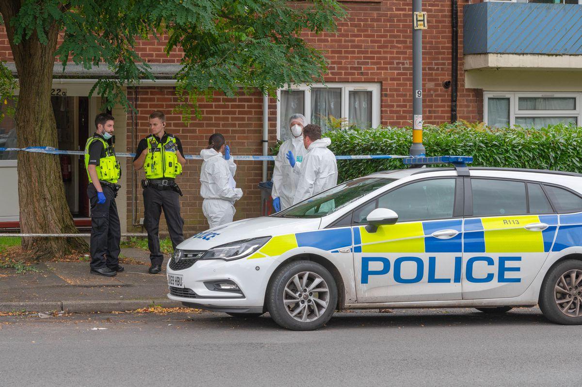 Police at the scene in Unett Street, Newtown, Birmingham. Photo: SnapperSK