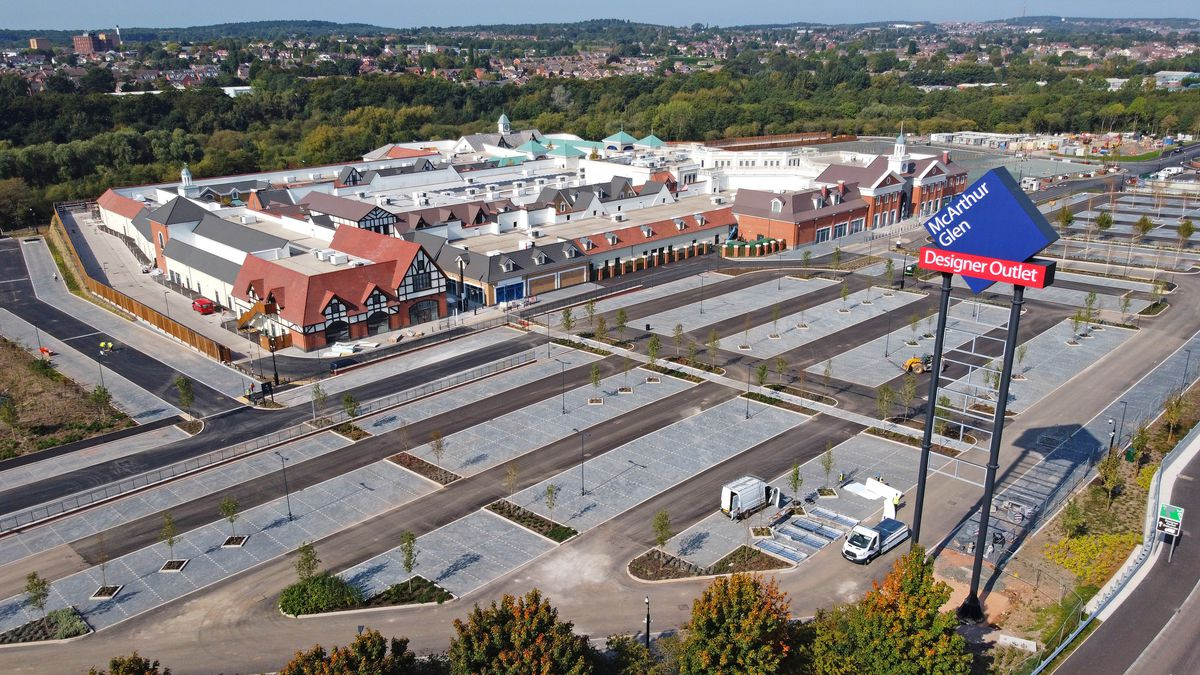 An aerial view of the outlet village