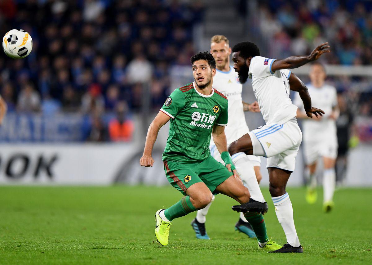 Raul Jimenez of Wolverhampton Wanderers and Ibrahim Rabiu of Slovan Bratislava. (AMA/Sam Bagnall)