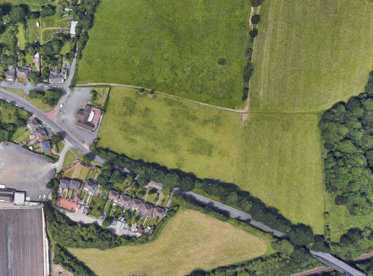 An aerial view showing the fields next to the Royal Oak on Bosty Lane. Photo: Google