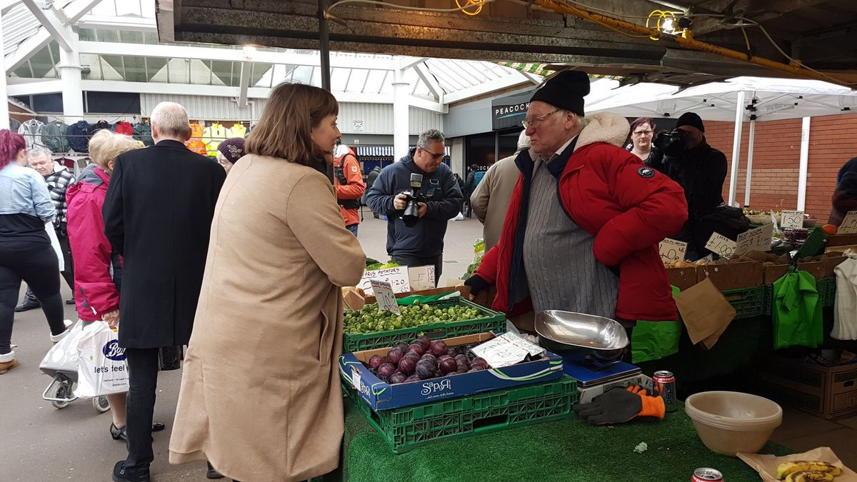 Labour leadership candidate Jess Phillips in Bilston to chat with market traders