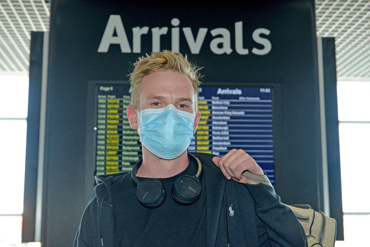 Matt Parsons, from Halesowen, arrives at Birmingham Airport from Faro