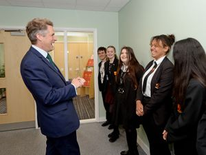 Education Secretary Gavin Williamson officially opens a new building at Netherstowe School, Lichfield.