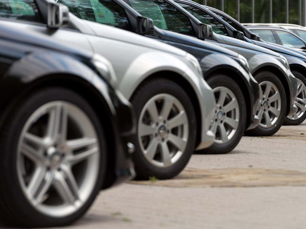 Used cars in a line